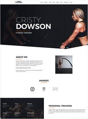 Vorlage Website Fitnesstrainer Screenshot