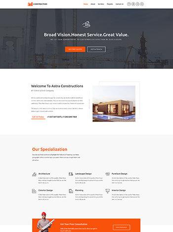 Vorlage Website Baugewerbe Architekt screenshot