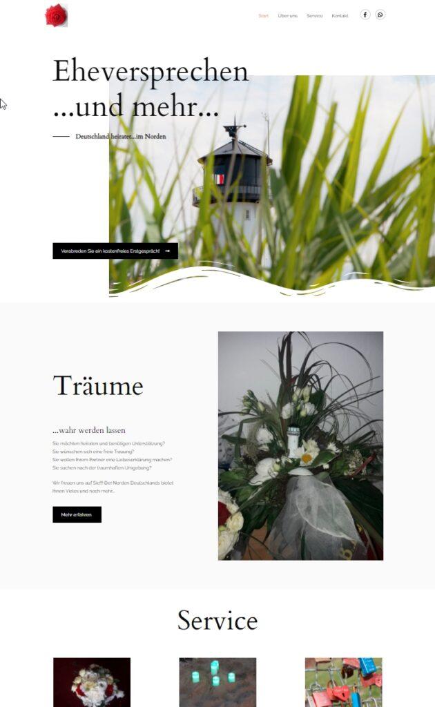 Startseite von Eheversprechen.de WordPress