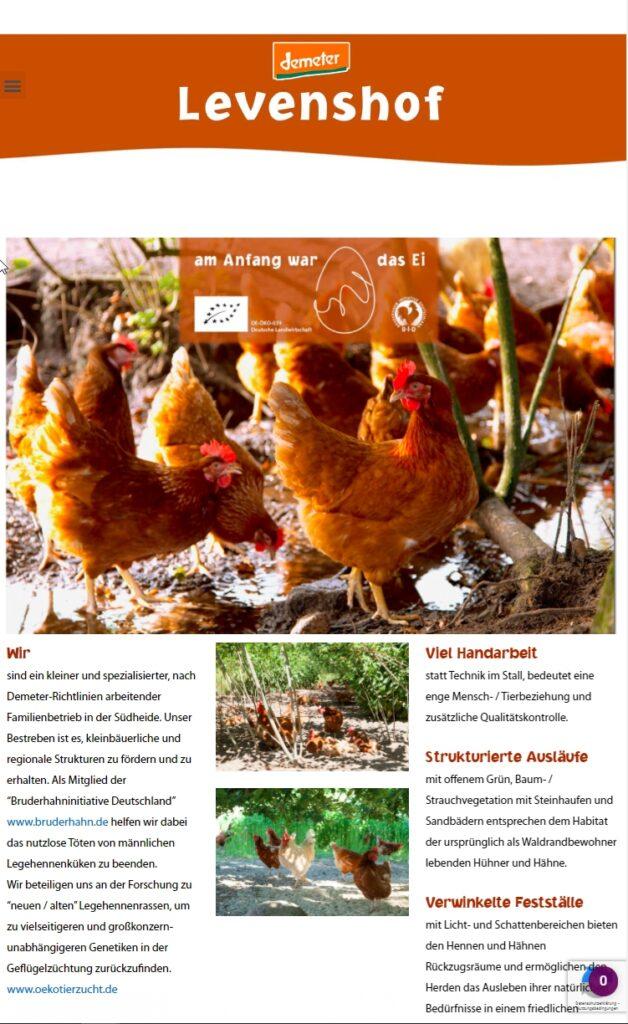 Startseite von Levenshof.de WordPress